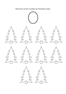 Paint the correct number of Christmas trees