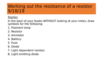Calculating resistance. Practical.