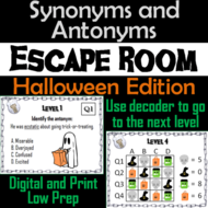Synonyms and Antonyms Activity: Halloween Escape Room Vocabulary Game