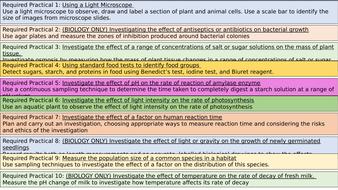 AQA Biology practicals.