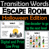 Transition Words Activity: Vocabulary Escape Room Halloween