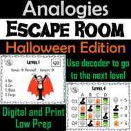 Analogies Game: Halloween Escape Room Vocabulary Activity