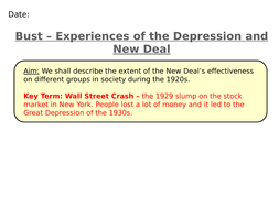 The Depression and Experiences of the New Deal