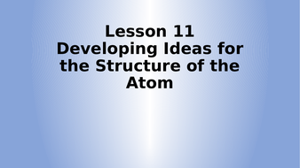 AQA Physics Developing the Atom Lesson