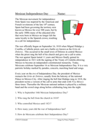 Mexican Independence Day Cultural Reading: Grito de Dolores (English Version)
