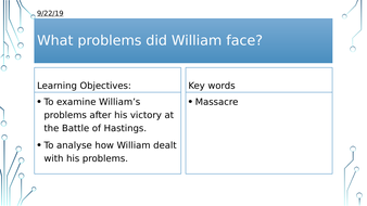Year 7: What problems did William the Conqueror face?