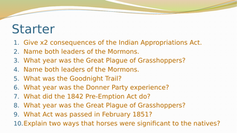 Conflicts with the Plains Indians- GCSE History American West