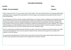 Fit and Healthy Cross -Curricular Program of Study for a Behaviour or Support (SEN) Setting