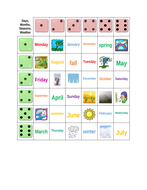 Days, Months, Seasons, Weather Dice Game