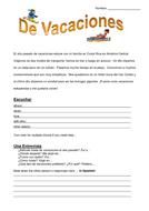 Mis vacaciones - My holidays - KS4 - Reading comprehension - Spanish