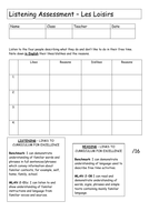 French Reading and Listening Assessment - les loisirs/passe-temps/hobbies/free time