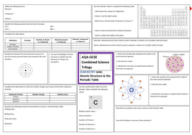 Atomic Structure & The Periodic Table Revision Sheet for