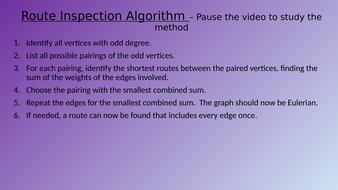 Route Inspection algorithm (Chinese Postman problem)