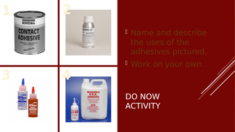 Adhesives and Finishing Techniques Starter Activity