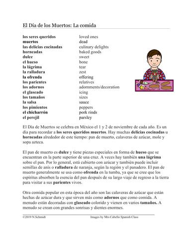Día de los Muertos Lectura: Comida (Pan de muerto, Calaveras, Mole, Sopa Azteca)