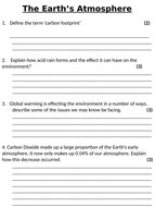 NEW AQA GCSE (2016) Chemistry  - The Earth's Atmosphere Homework