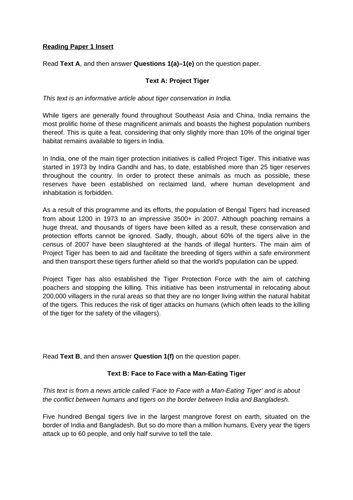 Mocked-up CIE Paper 1: Tigers 0500 First Lang English 2020