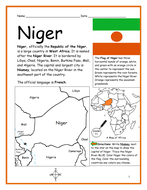 NIGER - Printable handout with map and flag