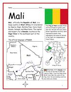 MALI - Printable handout with map and flag