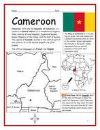 CAMEROON - Printable handout with map and flag