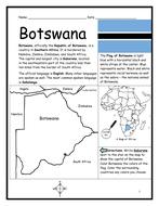 BOTSWANA - Printable handout with map and flag