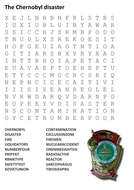The Chernobyl disaster Word Search