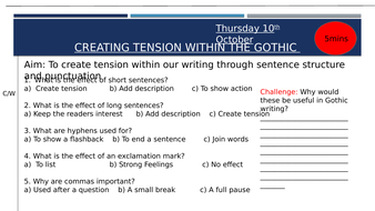 Gothic  Writing:  Creating tension