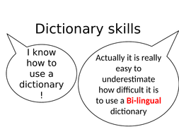 dictionary skills and things in your pencil case
