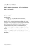 Reading and visual  task : Les tâches ménagères