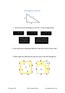 Pythagoras' Theorem Starter
