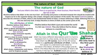 Islam knowledge organiser - nature of Allah (editable)