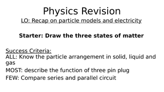 Molecular, Matter and Electricity  Revision