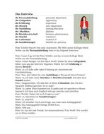Das Interview German Reading: Script for Job Search (Arbeit Suchen/CV)