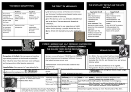 GCSE History Weimar and Nazi Germany Knowledge Organiser Topic 1 Weimar Germany