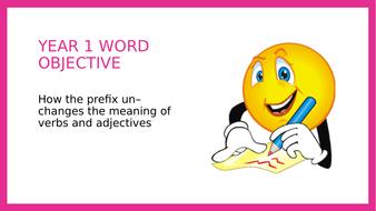 Year 1 SPAG PPT Lesson: The un- prefix