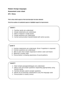 Assessment cover sheet all languages MFL for Oracy KS3 Excellent Resource