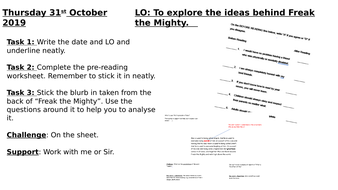 Freak the Mighty Chapter 1 - year 7  mixed ability
