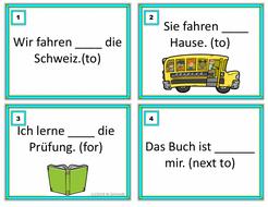 German Prepositions Task Cards: Präpositionen (accusative/dative/two-way)