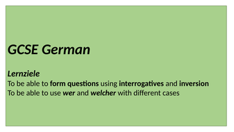 GCSE German - asking questions using question words and inversion