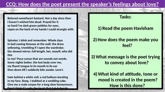 AQA Unseen Poetry Comparison- Havisham and Valentine
