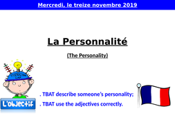 La personnalité - Describe the personality - Personality Adjectives -  French Year 7
