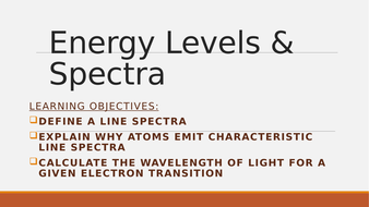 Energy levels and spectra