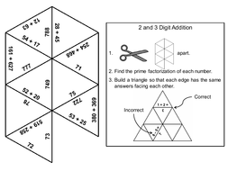 2 and 3 Digit Addition With and Without Regrouping Game: Math Tarsia Puzzle