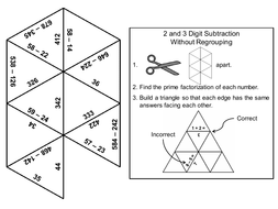 2 and 3 Digit Subtraction Without Regrouping Game: Math Tarsia Puzzle