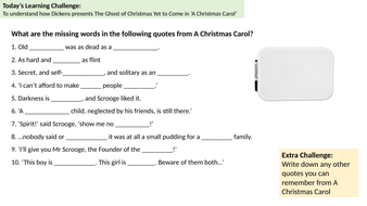 A CC : Ghost of Christmas Yet To Come | Teaching Resources