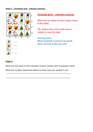 Christmas missing value activity - differentiated worksheets - Y4