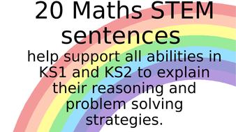20 MASTERY STEM SENTENCE STARTERS