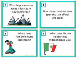 Hispanic Culture Task Cards Trivia Game: ENGLISH VERSION (Sub Activity)