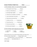 German Worksheet on Present Perfect: Perfekt (Regular and Irregular Participles)