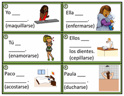 Spanish Reflexive Verbs Task Cards: 24 Verbos Reflexivos (Daily Routines)